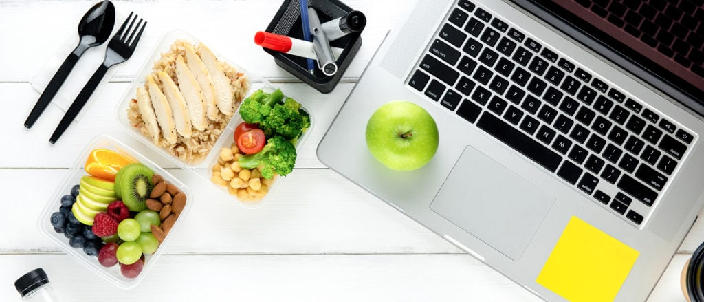 laptop and food